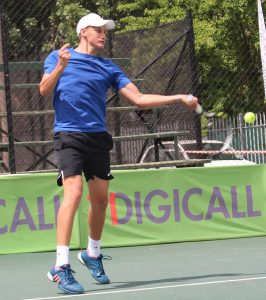 South African promising young star, Bertus Kruger of Gauteng won through to the next round of the Digital Futures 2 international tennis tournament being played at the University of Stellenbosch. South African Wild Card, Kruger, beat Alexander Merino of Peru 6-3 6-4.