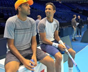 American Rajeev Ram (left) with South African Raven Klassen during practice at the O2 Arena in London ahead of this week's Barclays ATP World Tour Final. Klaasen and Ram are seeded 7 in the world and will be making their first appearance in the year-end ATP Finals.