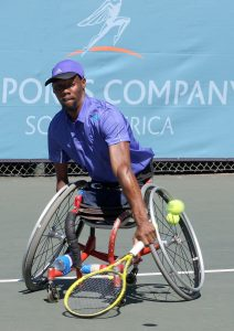 JOHANNESBURG, SOUTH AFRICA – APRIL 16: Lucas Sithole, the 3rd seed of South Africa in action against Itay Erenlib (ISR) in the quads quarterfinals during day 3 of the Airports Company South Africa SA Open at Ellis Park Tennis Complex on April 16, 2015 in Johannesburg, South Africa. (Photo by Reg Caldecott/Gallo Images)
