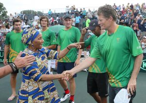 Former First Lady, Zanele Mbeki recognises Wayne Ferreira when she was introduced to the South African team after the reverse singles of the Davis Cup tie between South Africa and Estonia at the Irene Country Club on February 05 2017 in Pretoria, South Africa.