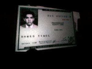 Ahmed Timol's ID document