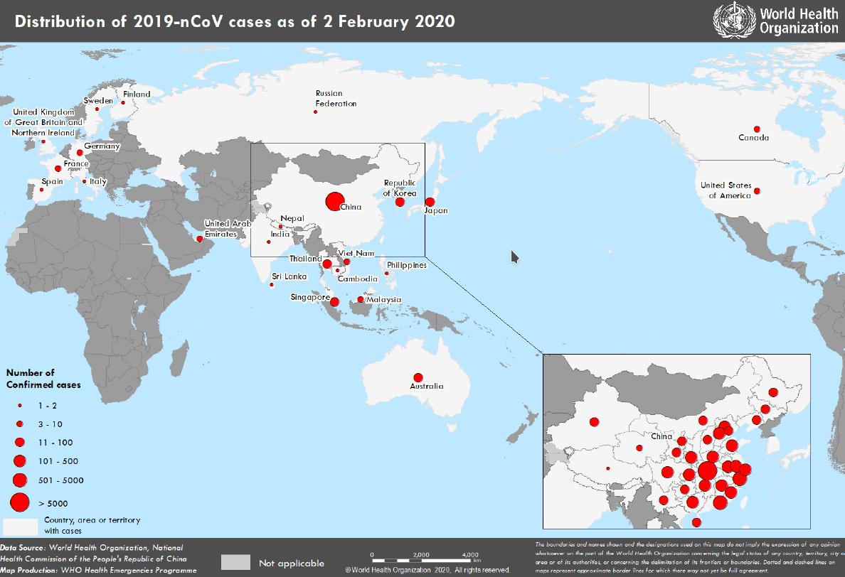 2 february 2020 distribution-novel-coronavirus-2019-ncov