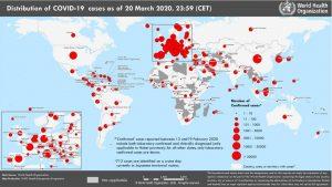 Coronavirus (COVID-2019) at 22 March 2020
