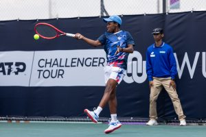 South African teen sensation Kholo Montsi in action at the Potch Open, an ATP Challenger 50 at North West University, Potchefstroom in March 2020. Picture Credit: Tennis South Africa